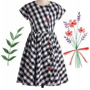 Modcloth Bea & Dot Retro Black Gingham Dress L XL